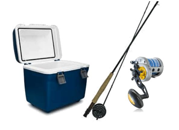 釣り竿とリールとクーラーボックス