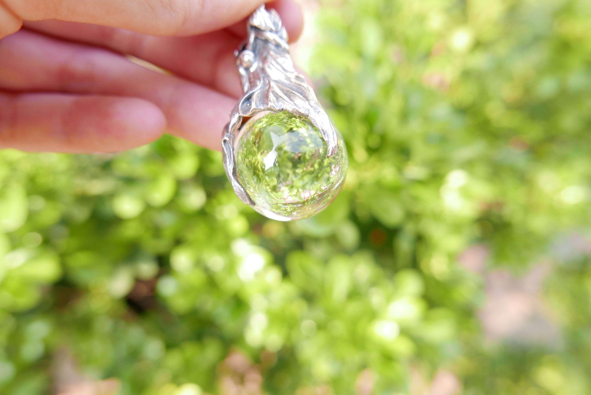 白水晶球天使純銀墜