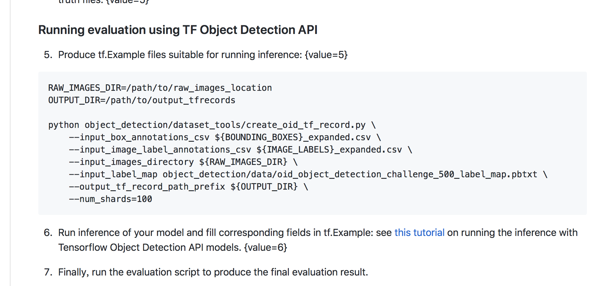 How to use tensorflow API to running the Evaluation program