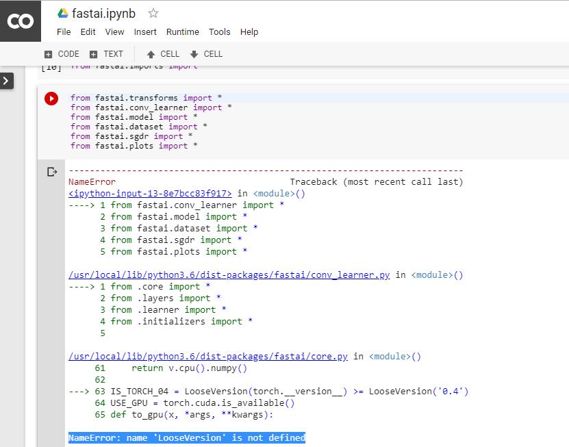 Error while using fast ai on colab | Kaggle