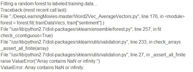 ValueError: Array contains NaN or infinity  | Kaggle