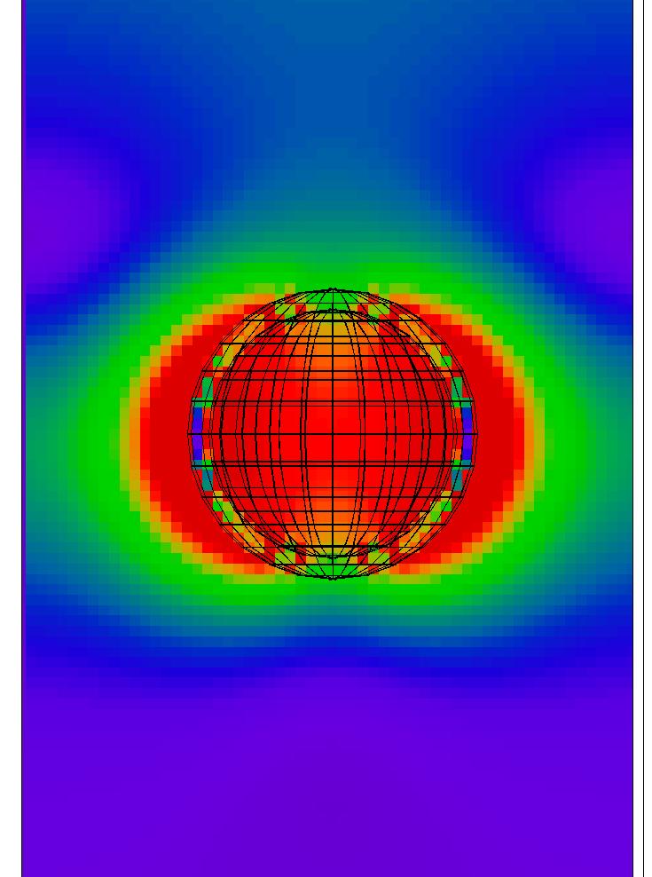 シェル厚5[nm]の波長710[nm]における電界分布