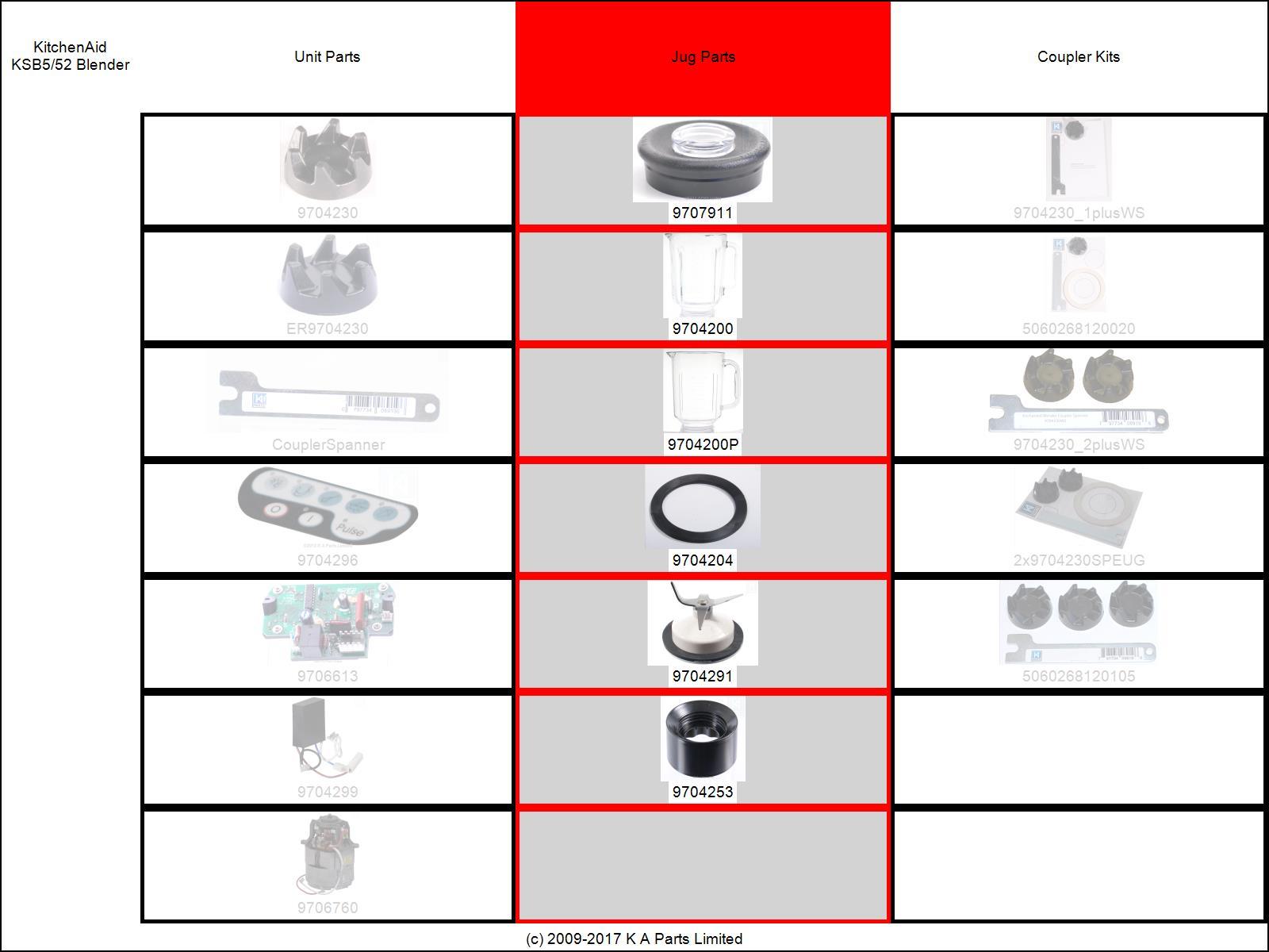 Blender glass jar jug bowl pitcher for most kitchenaid blenders ksb5 ksb52 5ksb5 - Kitchenaid blender parts uk ...