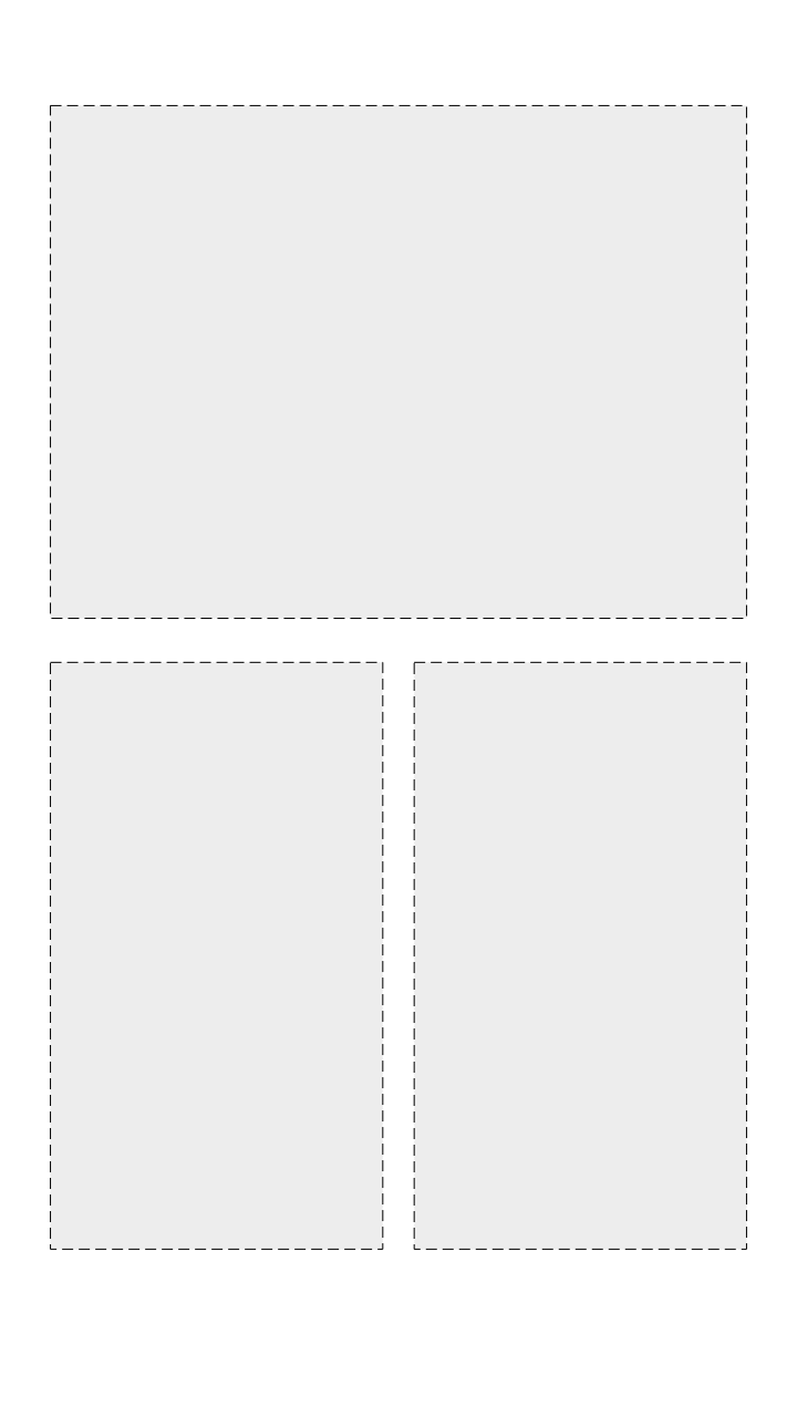 Story with a square above two vertical images