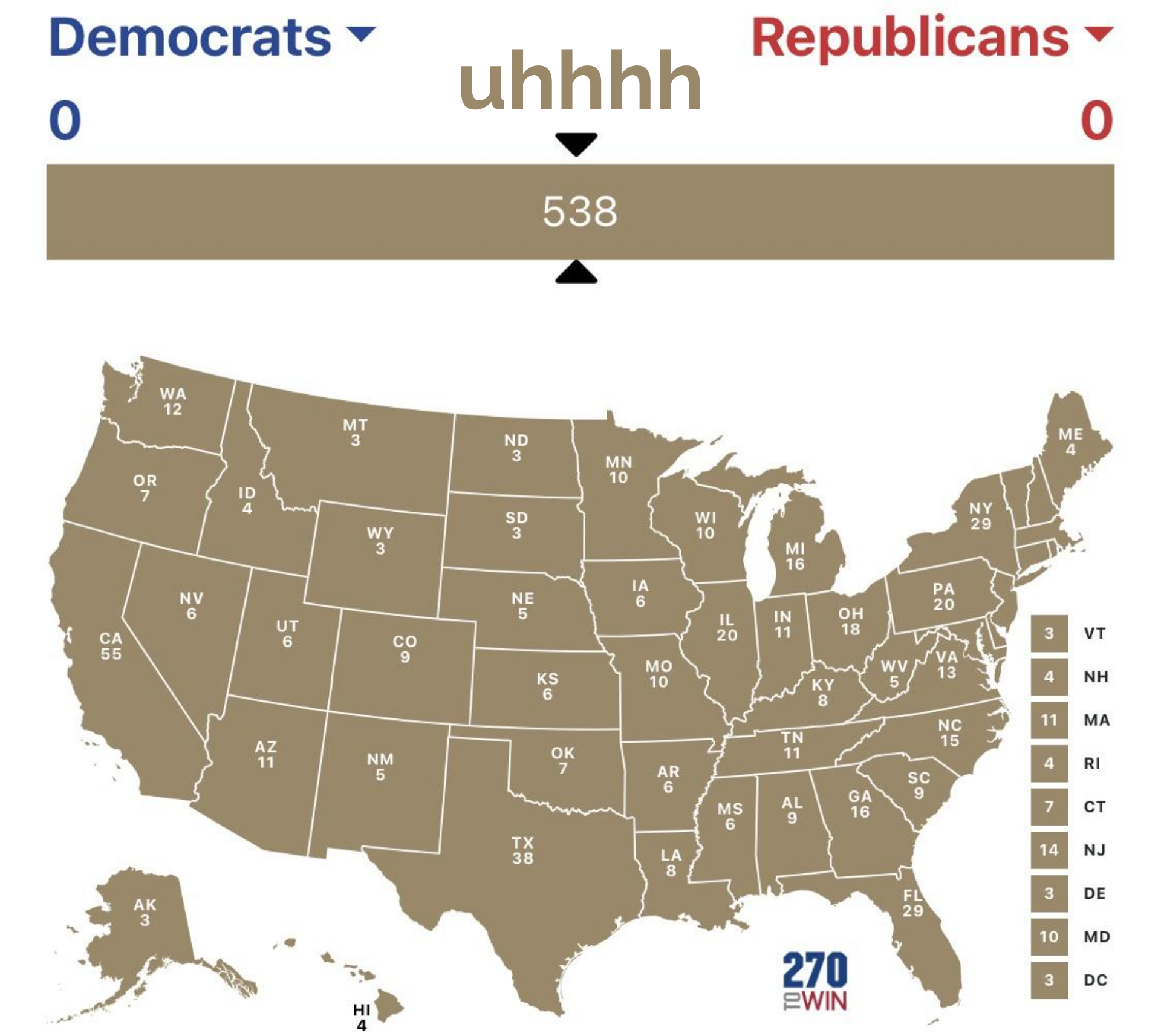 U.S. Presidential Election Map Template