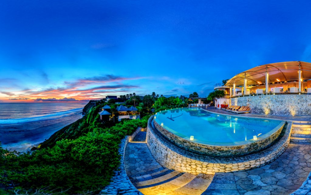 infinity pool with sunset cliff beach at luxury Best Resorts in Bali