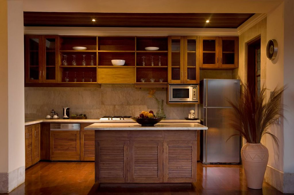 elegant brown wood furniture of Luxury Villa in Jimbaran Bay, Bali
