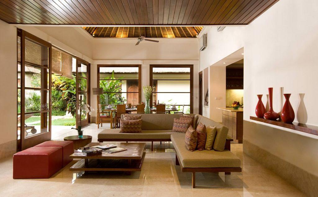 comfortable lounge area with unique furniture at luxury villa karma jimbaran
