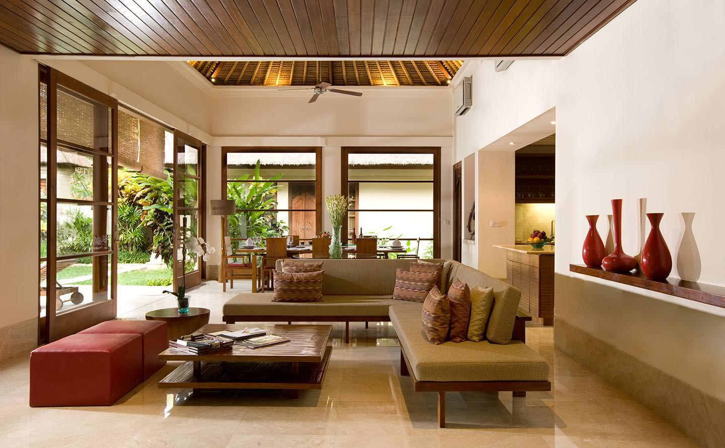 comfortable lounge area with unique furniture at luxury villa karma jimbaran