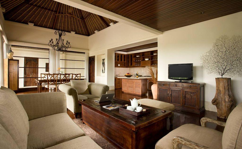 elegant woody living room of Luxury Resort in Jimbaran