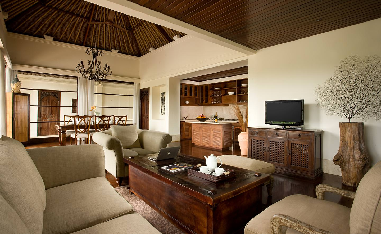 elegant woody living room of Luxury Resort in Jimbaran