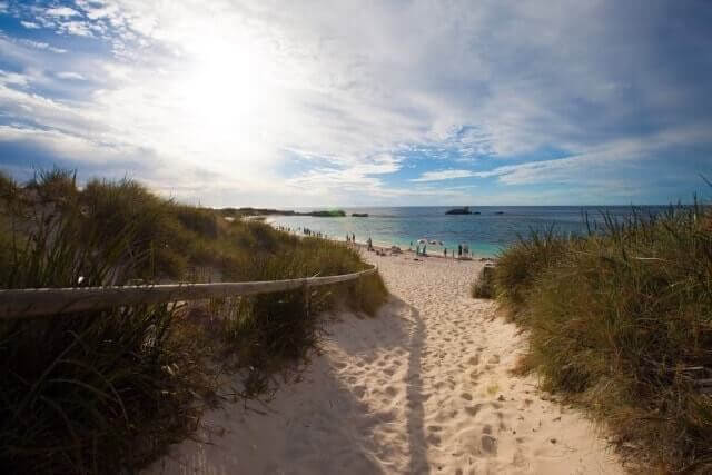 sunny weather and gold sand of luxury Hotel in Rottnest Island