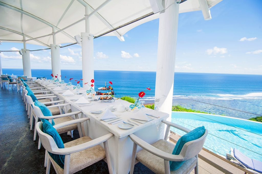 luxury hotel with elegant ocean view restaurant