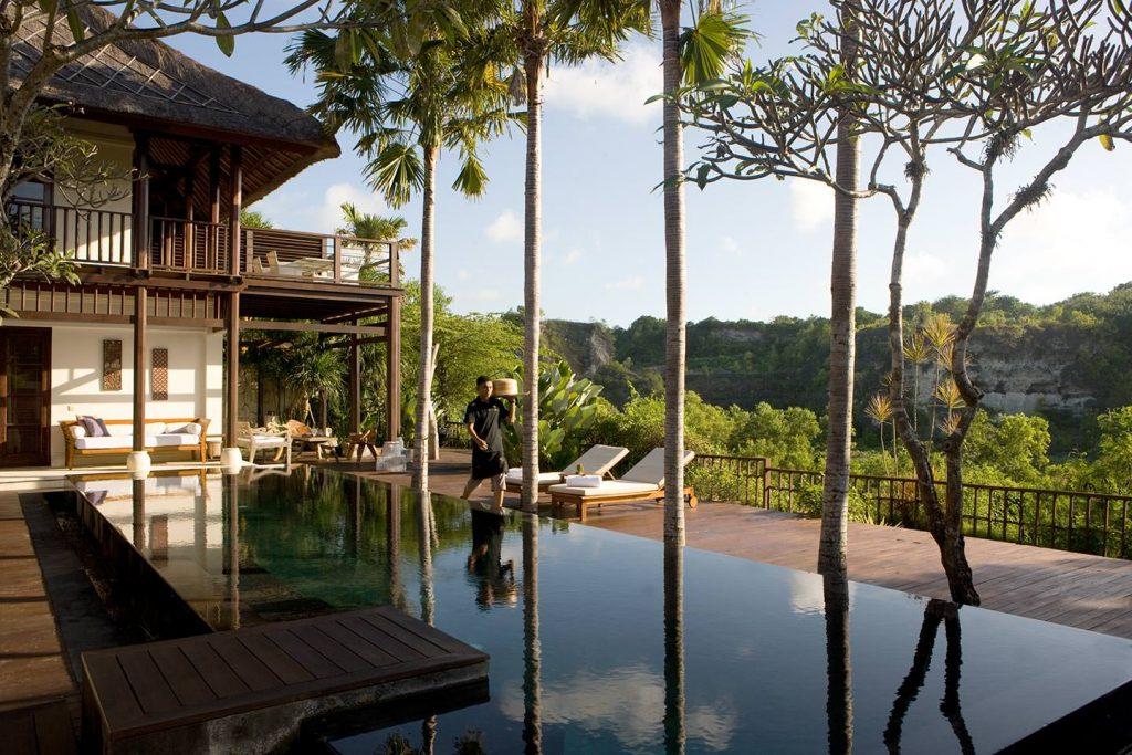 beautiful landscape view of luxury 5 Star Hotel in Jimbaran Bay, Bali
