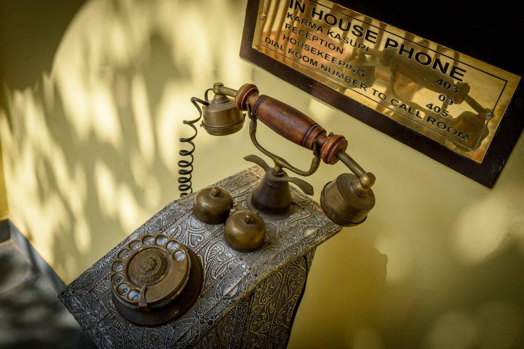 unique old telephone machine of luxury hotel Karma Haveli. india