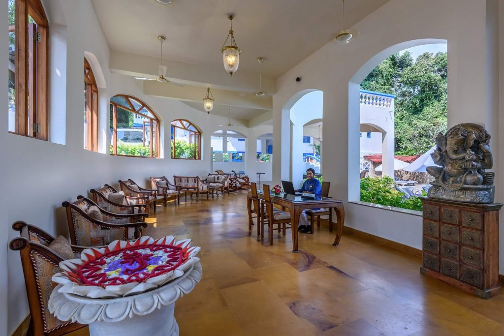 reception hall of luxury hotel Karma Royal Monterio