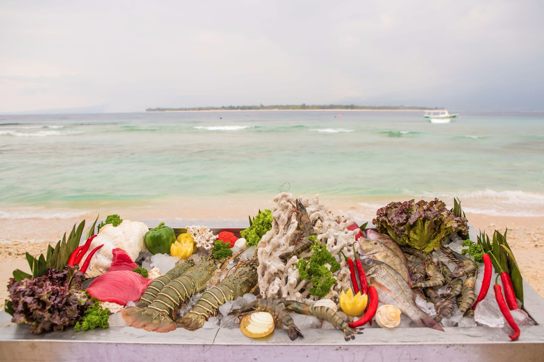 fresh ingredient from sea at luxury hotel in Lombok