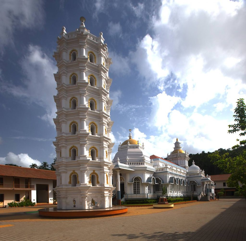 white beautiful building of Mangueshi Temple, Goa