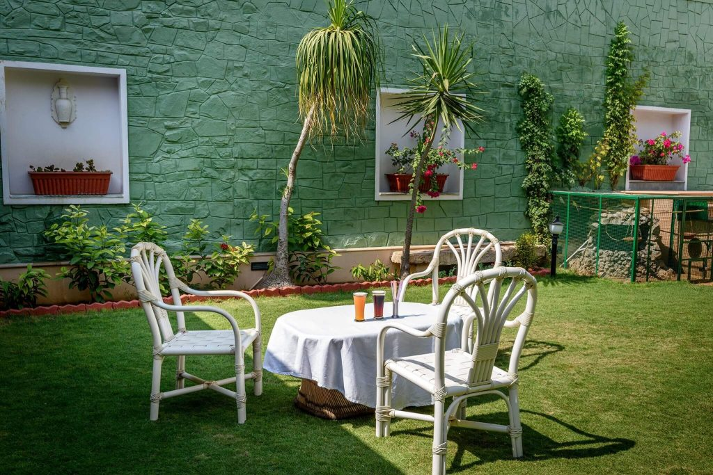 outdoor seating of luxury hotel of Karma Haveli