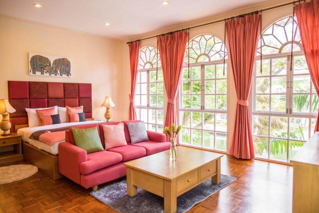 glamour red weather interior of luxury hotel Karma Royal Phuket Accommodation