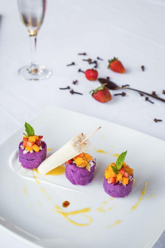purple sweet potato ice cream desert of luxury hotel Karma Mayura cuisine