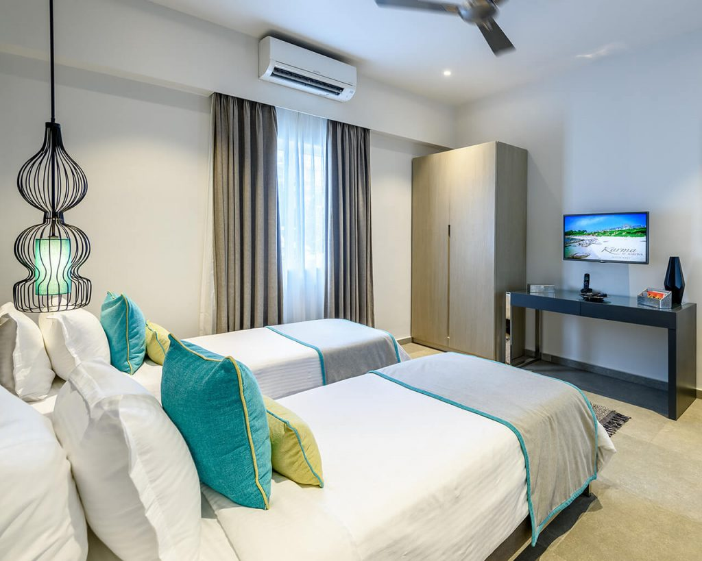 elegant and clean of luxury hotel karma royal residences at haathi mahal double Bedroom