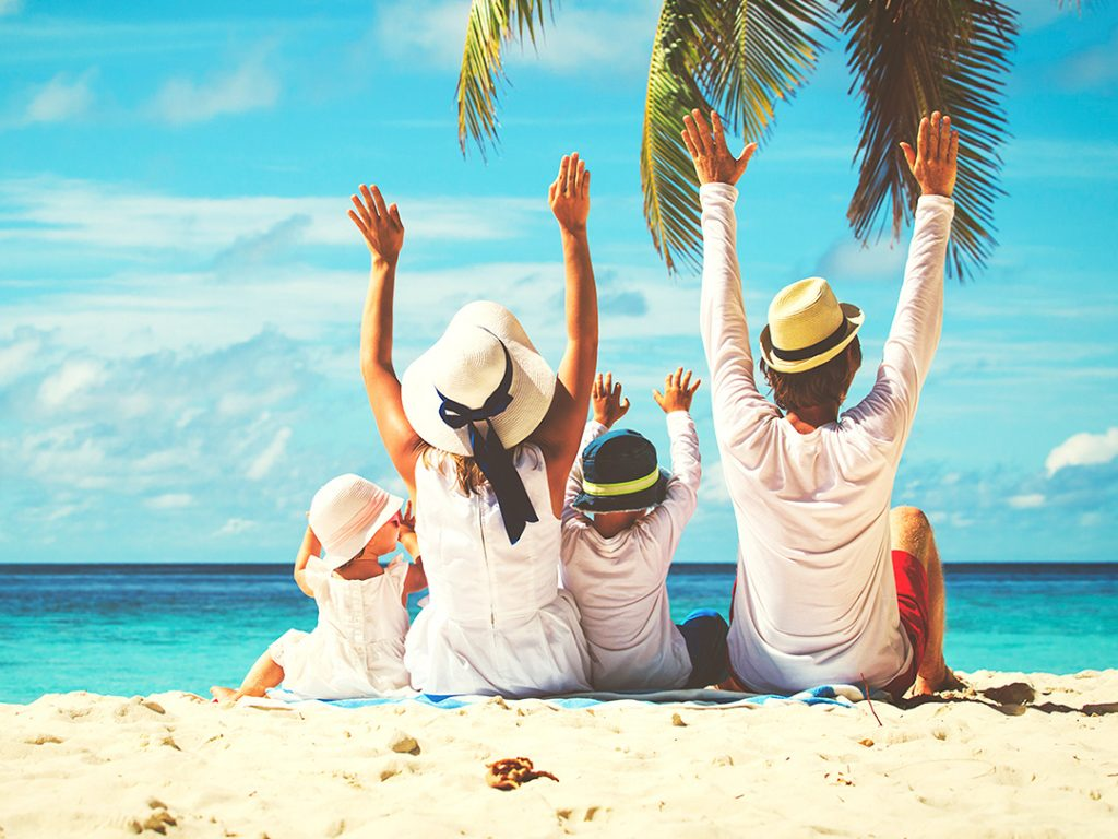 great holiday on beach with happy family. luxury karma kandara package