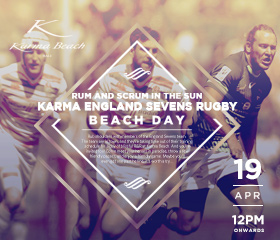 Join England Rugby Sevens' best for a day of rugby fun and a Karma Beach party