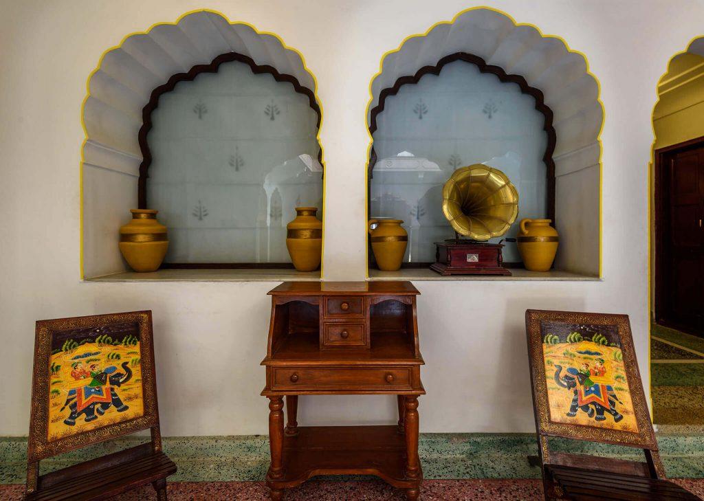 vintage interior of luxury hotel of Karma Haveli