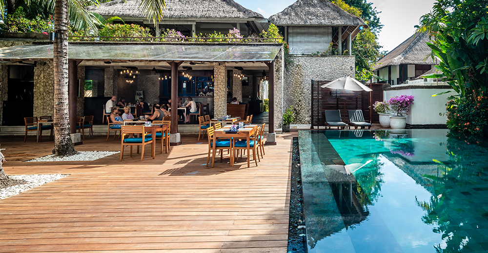 pool side restaurant of luxury hotel karma jimbaran