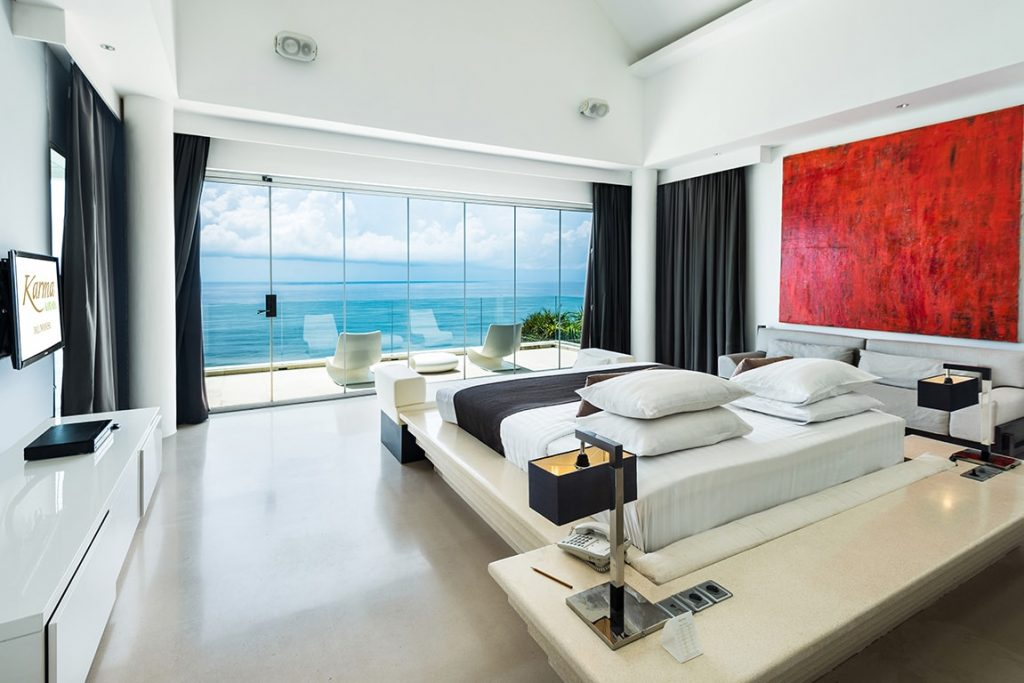 great experience at luxury hotel of karma kandara bedroom with ocean view window