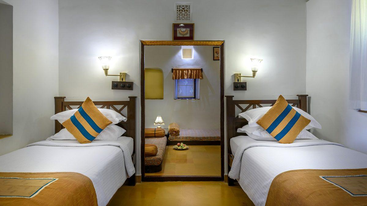 double bed, luxury hotel karma haveli, goa, india