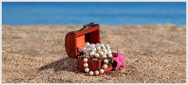 Smykkeskrin på stranden