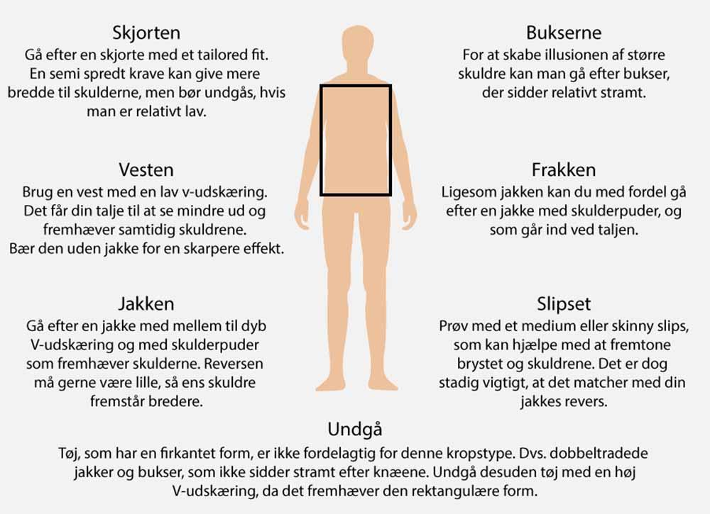 adeda586a11 Denne kropsform er defineret ved, at ens skuldre er lige så brede som ens  hofter og talje, hvilket skaber en rektangulær eller firkantet kropsform.