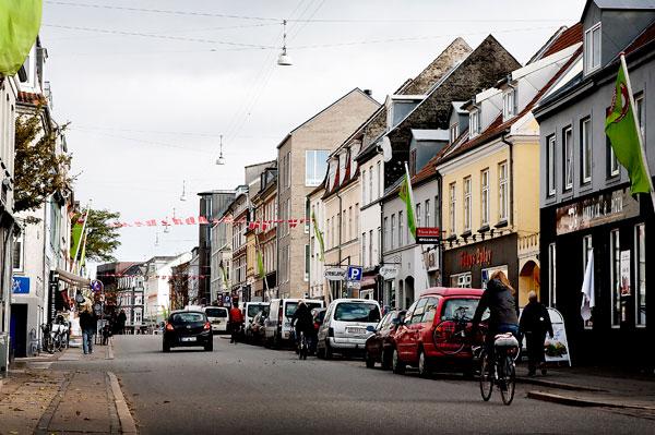 La rue de jægergårdsgade, Aarhus Danemark