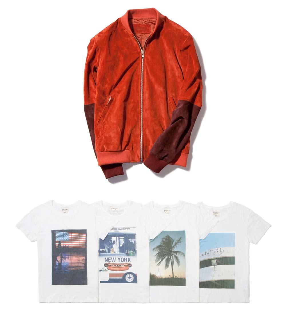 Veste en suede et des t shirts de BWGH