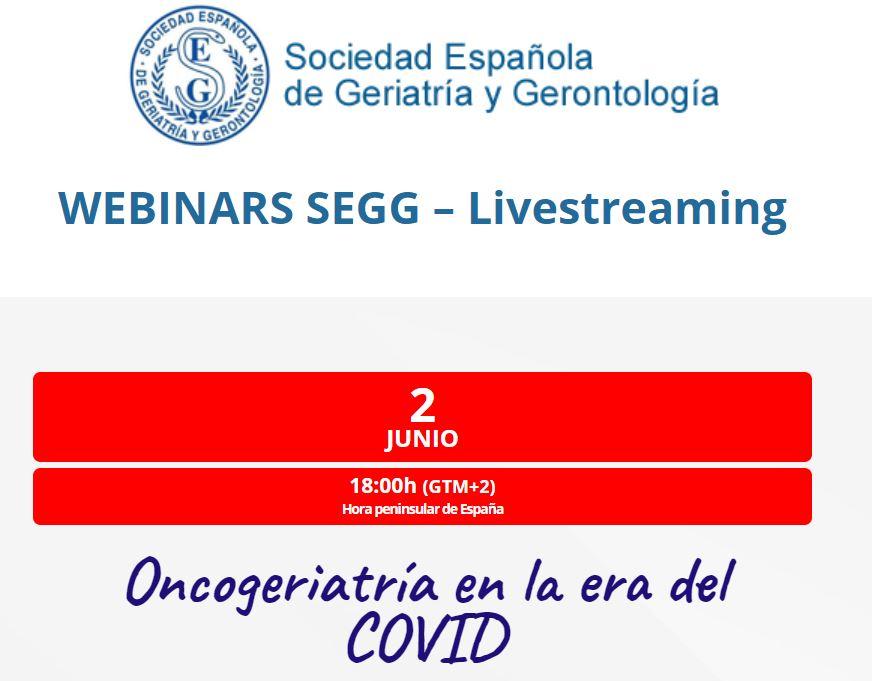 Oncogeriatría en la era del COVID  - webinar segg