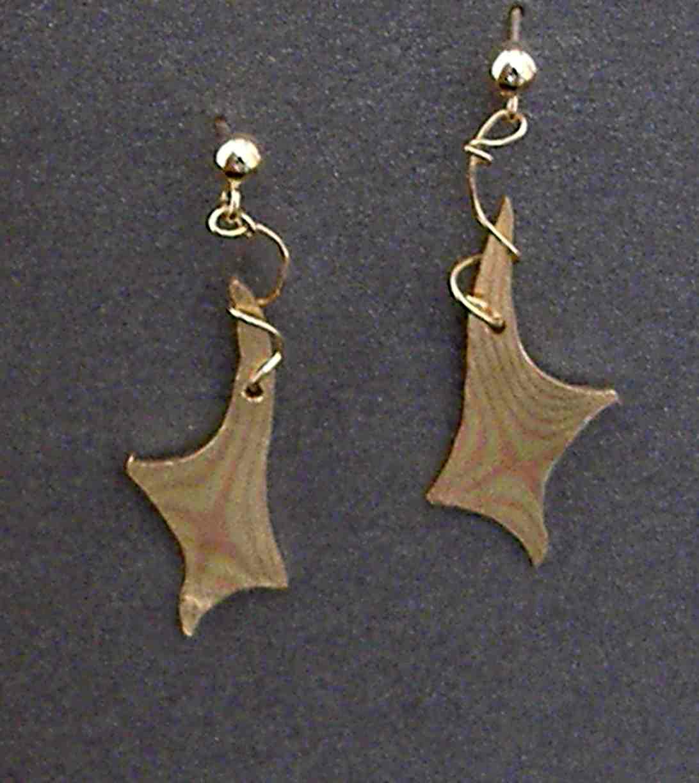 Star Mokume Copper, Brass and 14 K Gold Earrings