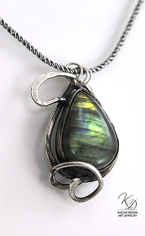 Ocean's Secret Labradorite and Hand Forged Sterling Silver Art Jewelry Pendant by Kaelin Design