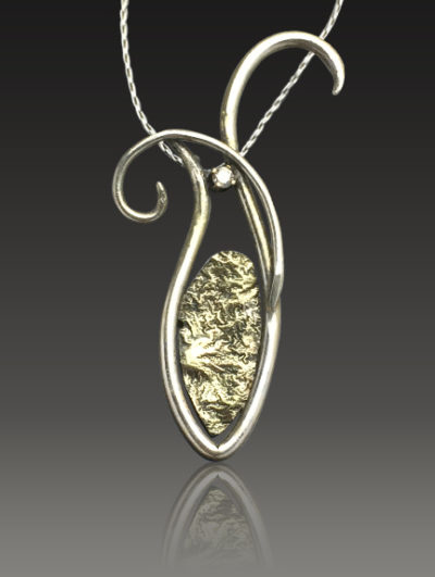 Artful Diamond Reticulated 15 karat gold and Diamond Pendant by Kaelin Design Fine Art Jewelry