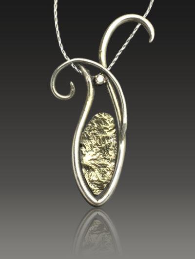 Artful Diamond Reticulated 15 karat gold and Diamond Pendant by Kaelin Design Fine Art Jewelry