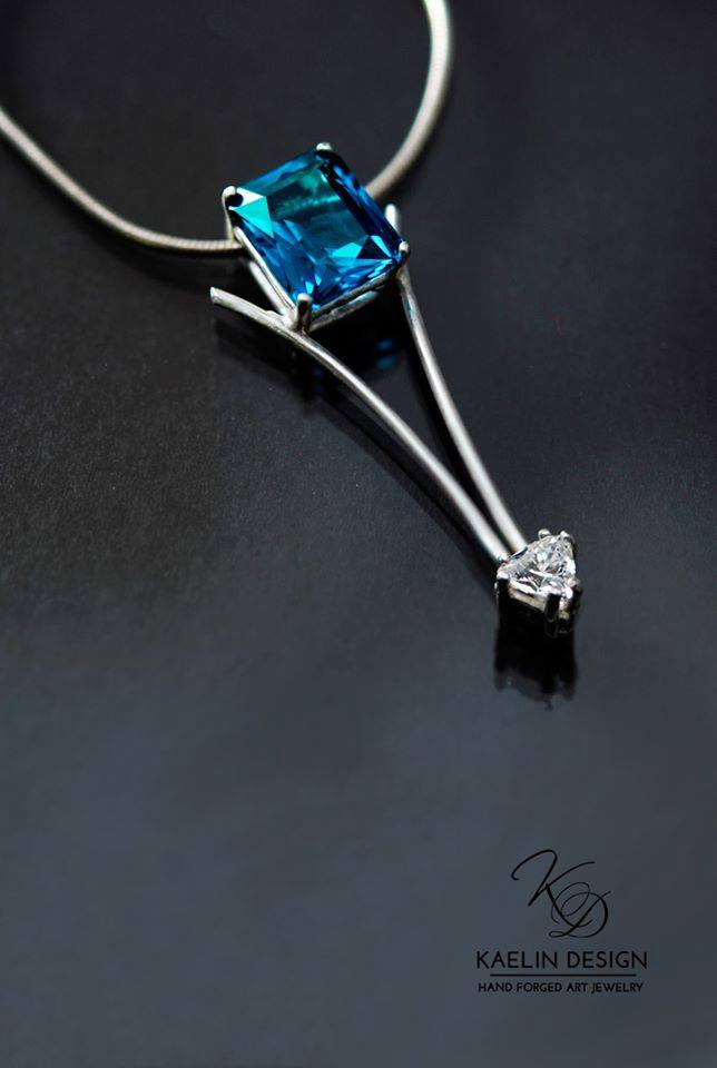 Blue Sparkles Spinel and Topaz Fine Art Pendant by Kaelin Design