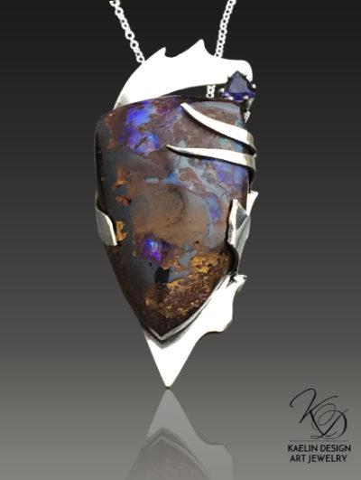 Opal Nebula boulder opal pendant by Kaelin Design