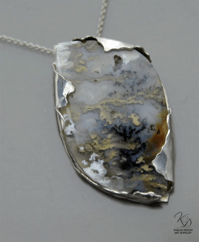 Storm Clouds Hand Forged Sterling Silver and Plume Agate Art Pendant by Kaelin Design