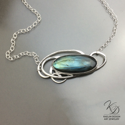 Water's Eddy Labradorite and Silver handmade pendant