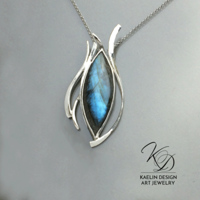 Dark Waters Labradorite and sterling silver pendant by Kaelin Design