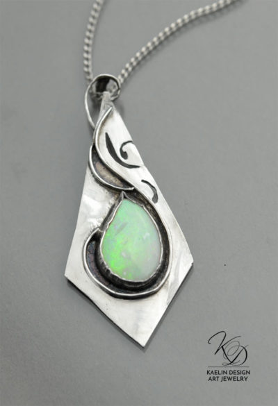 Opal Flight Hand Forged Silver and Ethiopian Opal Art Pendant by Kaelin Design Art Jewelry