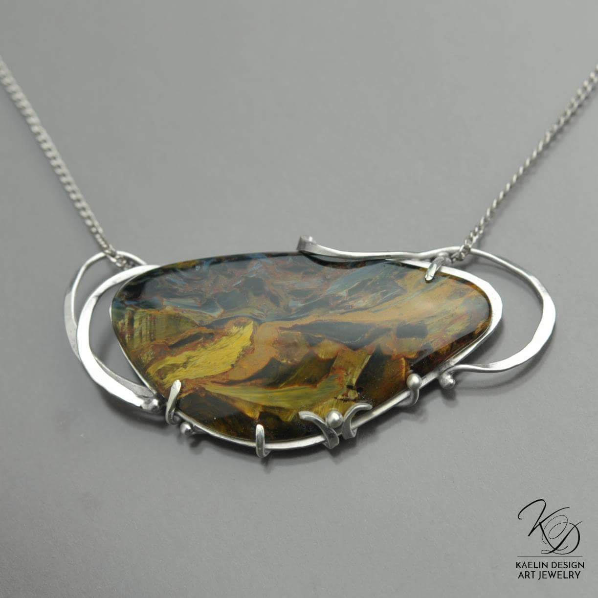 The Road Less Traveled Pietersite Custom Jewelry pendant by Kaelin Design