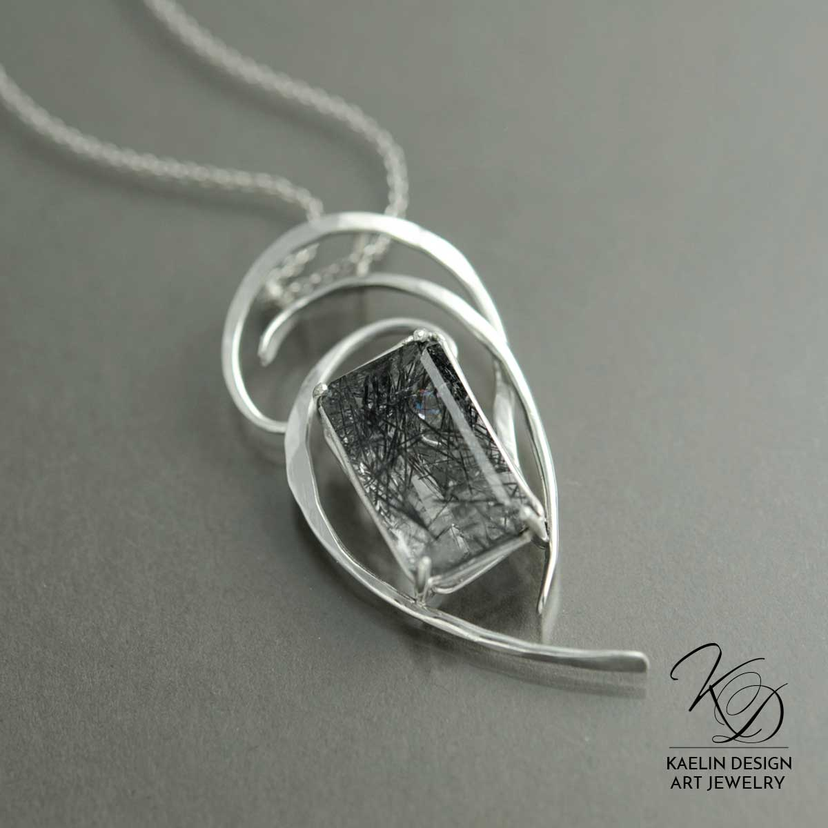 Storm Signals Rutilated Quartz and Forged Silver Unique Art Pendant by Kaelin Design