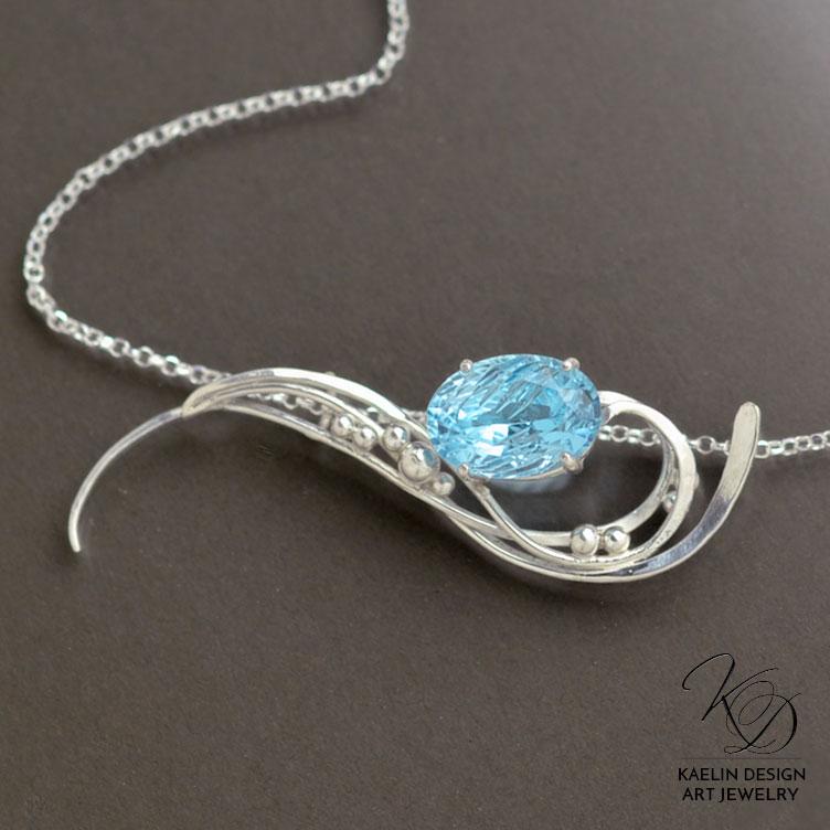 Fine Artist Necklace 'Distant Shores' Blue Topaz by Kaelin Design